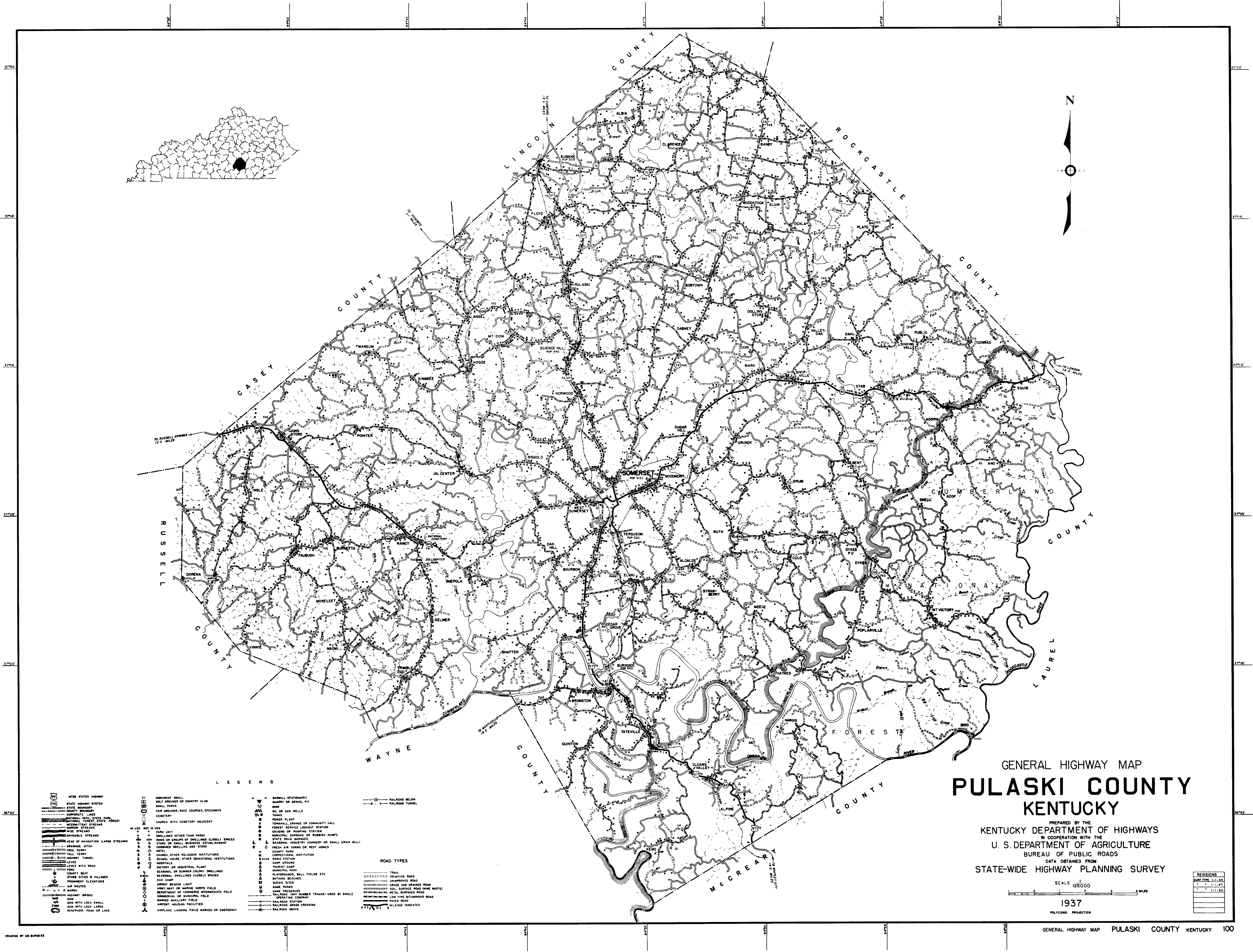 Pulaski County Ky highway map in 1950: Curtis / Colyer